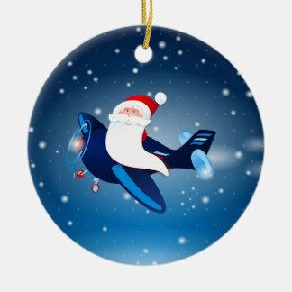 ¡Ho ho ho! Santa en el aeroplano, ornamento Adorno Redondo De Cerámica