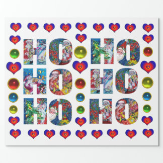 HO HO HO SANTA MUSICAL CHRISTMAS NIGHT WITH HEARTS WRAPPING PAPER