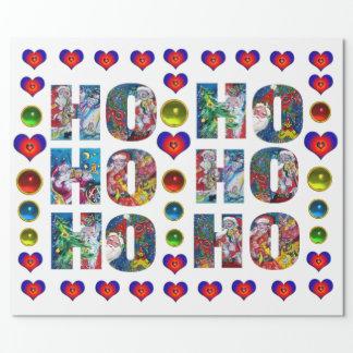 HO HO HO SANTA MUSICAL CHRISTMAS NIGHT WITH HEARTS WRAPPING PAPER