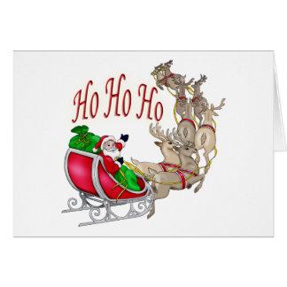 Ho Ho Ho Santa Sleigh and Reindeer Card