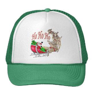 Ho Ho Ho Santa Sleigh and Reindeer Trucker Hat