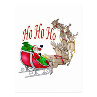 Ho Ho Ho Santa Sleigh and Reindeer Postcard