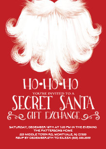 ho ho ho secret santa christmas party invitation