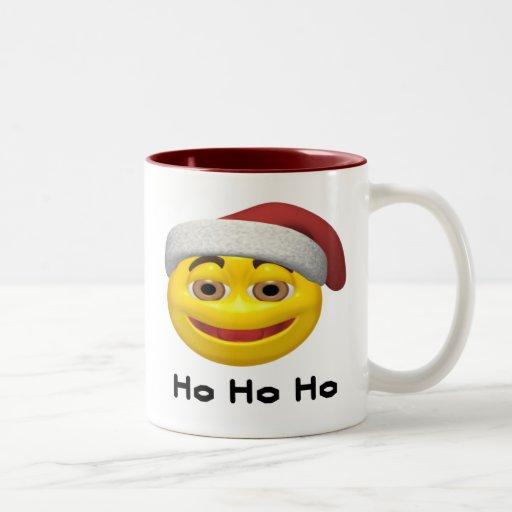 Ho Ho Ho - SmileySanta Two-Tone Coffee Mug