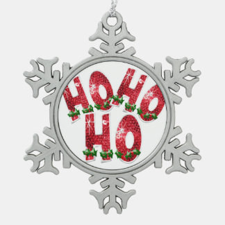 HO, HO, HO! Sparkling Red Sequin Pattern Snowflake Pewter Christmas Ornament
