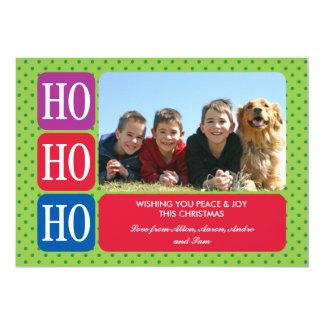 """Ho Ho Ho tarjeta de la foto del navidad Invitación 5"""" X 7"""""""