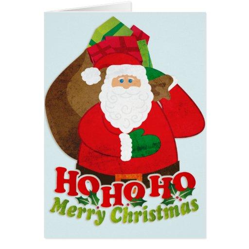 Ho Ho Ho tarjeta del saco de santa de las Felices