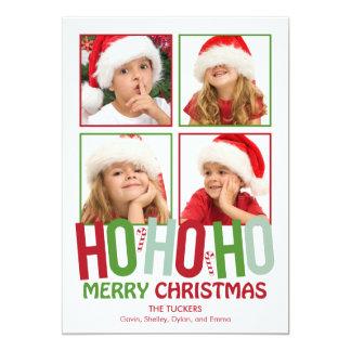 Ho Ho Ho tarjetas de la foto del día de fiesta del Invitación 12,7 X 17,8 Cm
