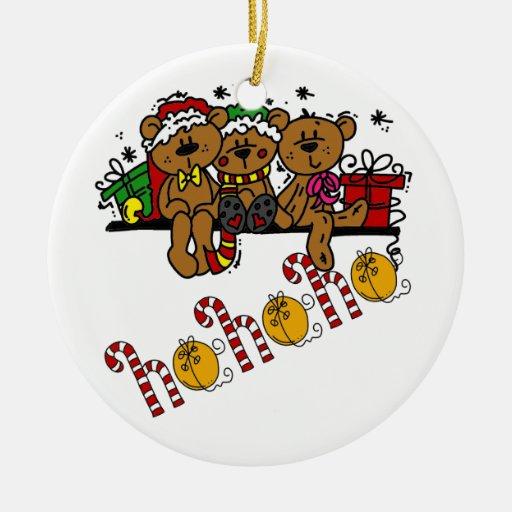 Ho Ho Ho Teddy Bears Christmas Ornaments