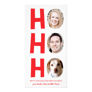 Ho Ho Ho Three Photo Skinny Holiday Card red white