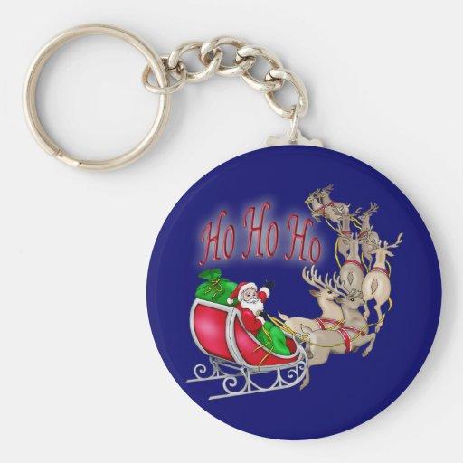 Ho Ho Ho trineo y reno de Santa Llavero Personalizado