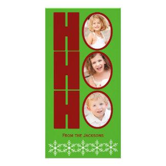 HO HO HO verde y rojo de la tarjeta del día de fie Plantilla Para Tarjeta De Foto
