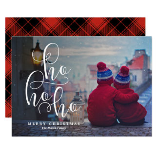 Ho Ho Ho White Overlay Holiday Photo Card
