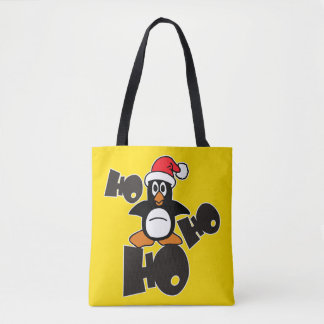 HO HO HO Xmas Penguin + your backgr. & ideas Tote Bag