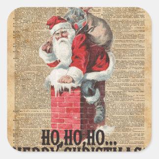 Ho,Ho Merry Chirstmas Santa Claus Dictitionary Art Square Sticker