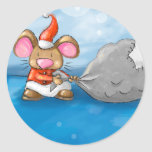 ho ho merry christmas mouse classic round sticker