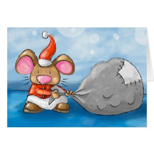 ho ho merry christmas mouse greeting card