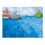 ho ho merry christmas mouse postcard
