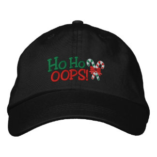 Ho Ho OOPS! Embroidery Candy Canes Cap