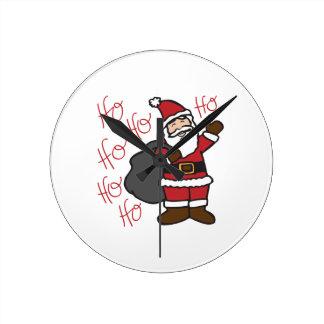 Ho Ho Santa Round Clock