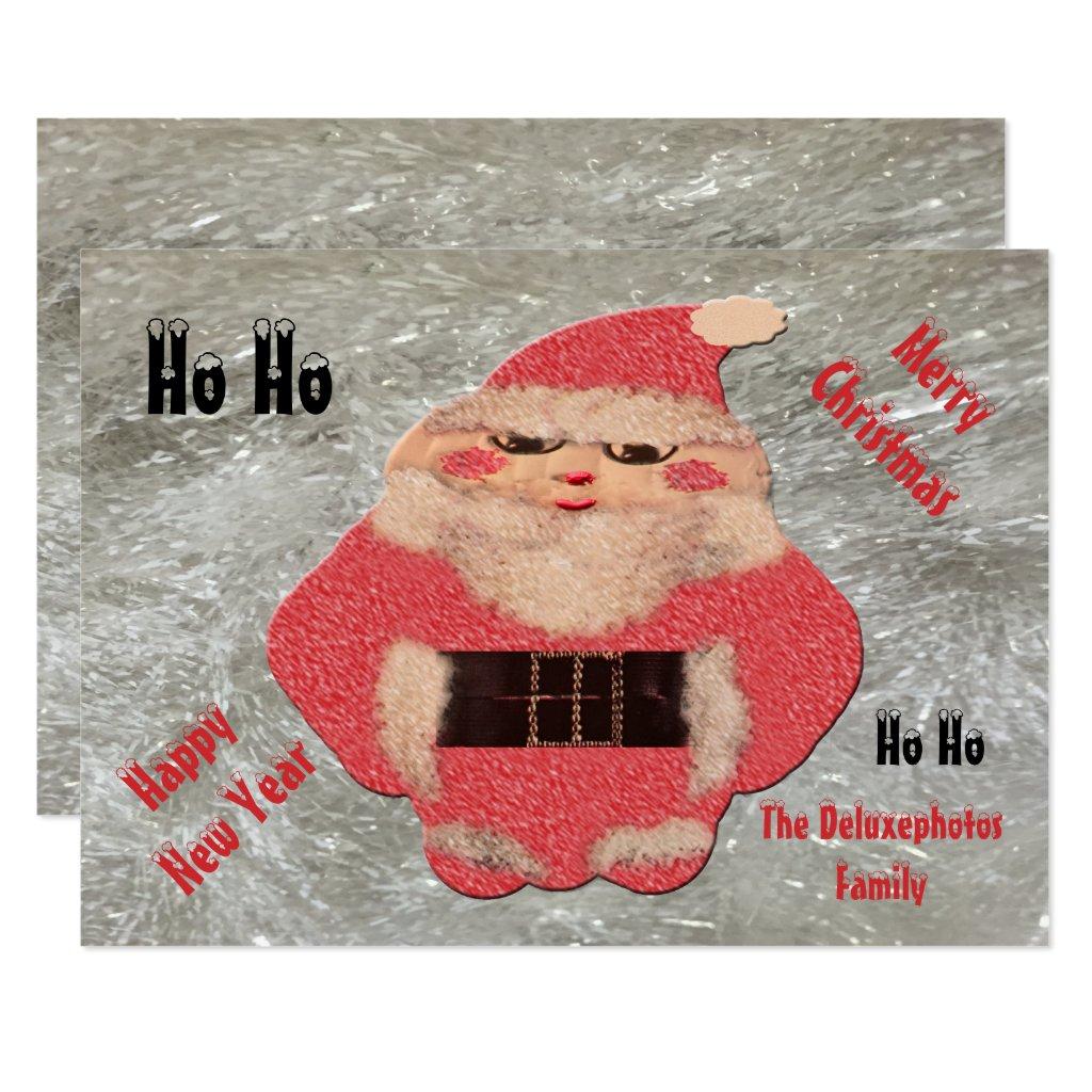 Ho Ho Santa Ivory Glitter Card