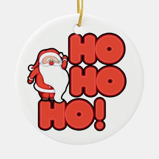 Ho Ho Santa Double-Sided Ceramic Round Christmas Ornament