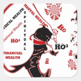 HO Navidad especial negra de la riqueza de Santa Pegatina Cuadrada