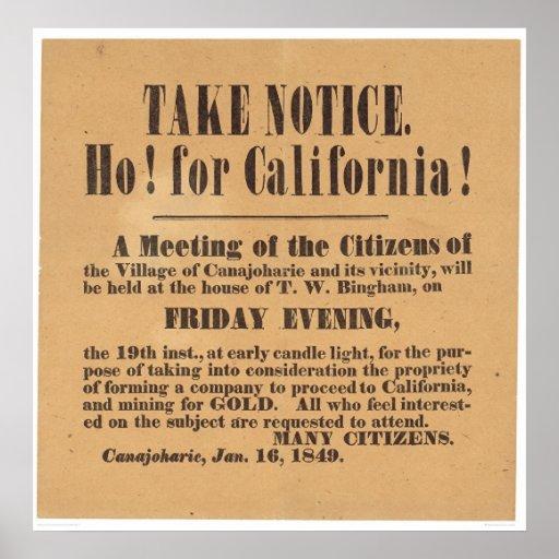 ¡Ho! ¡para California! 1849 (1759A) Posters