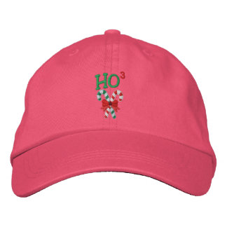 Ho Times Three Candy Canes Embroidered Baseball Hat
