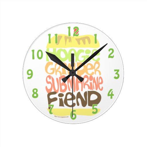 Hoagie Fiend Sandwich Fanatic Round Wall Clock