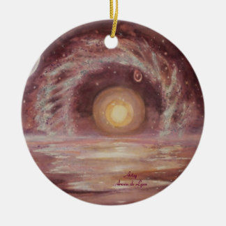 Hoag's Object and Two Moons Ceramic Ornament