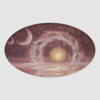 Hoag's Object and Two Moons Oval Sticker