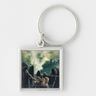 Hobbits Ready to Battle Silver-Colored Square Keychain