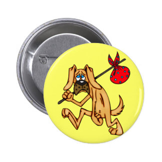 Hobo Bum Cartoon Dog Pinback Button