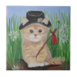 """Hobo Cat Ceramic Tile<br><div class=""""desc"""">Cute little Hobo Cat is running away. Where to? Probably Grandma&#39;s house! Original artwork is 8x10,  acrylic on paper by Mary Hysong,  2011.</div>"""