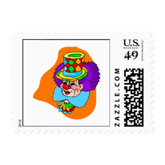 Hobo Clown Head Postage Stamps