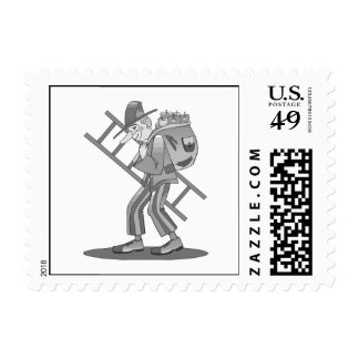Hobo clown with ladder stamps