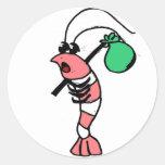 Hobo del camarón pegatinas redondas
