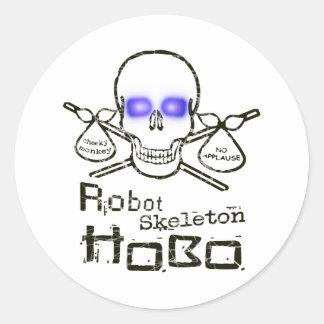 Hobo del esqueleto del robot pegatinas redondas