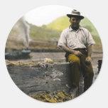 Hobo del ferrocarril del vintage pegatinas redondas