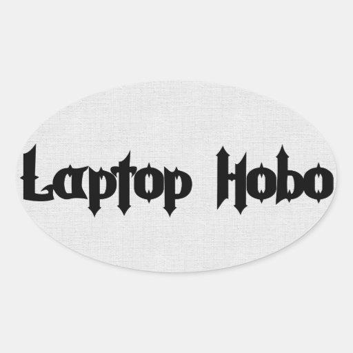 Hobo del ordenador portátil pegatina ovalada