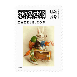 Hobo Easter Bunny Colored Egg Suitcase Postage Stamp