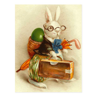 Hobo Easter Bunny Colored Egg Suitcase Postcard