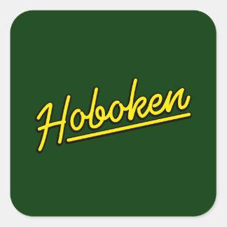 Hoboken en amarillo pegatina cuadrada