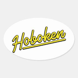 Hoboken en amarillo pegatina ovalada