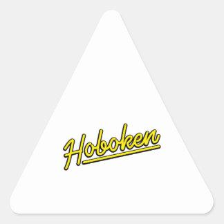 Hoboken en amarillo pegatina triangular