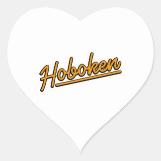 Hoboken en naranja pegatina en forma de corazón