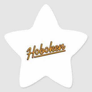 Hoboken en naranja pegatina en forma de estrella