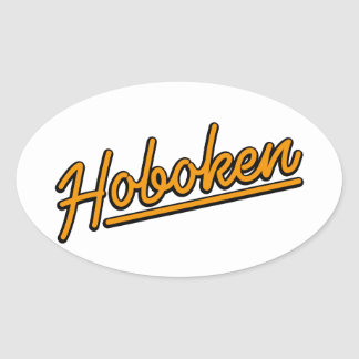 Hoboken en naranja pegatina ovalada