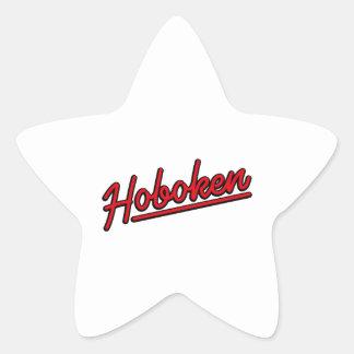 Hoboken en rojo pegatina en forma de estrella